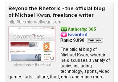 Beyond the Rhetoric Cracks Technorati Top 10K