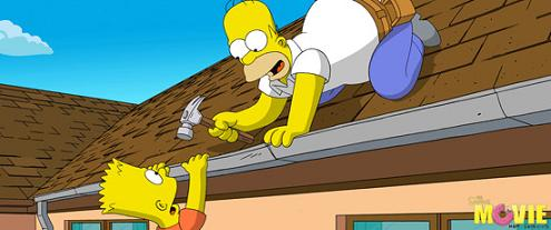 the simpsons movie - homer simpson and bart simpson atop their roof in springfield