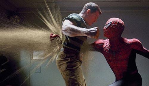 spider-man 3: spiderman punches the sandman