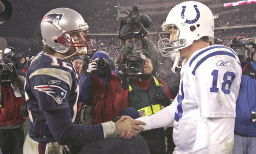 tom brady of the new england patriots shakes hands with peyton manning of the indianpolis colts