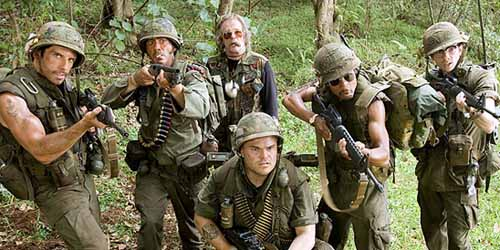 Tropic Thunder with Ben Stiller, Jack Black, and Robert Downey Jr.