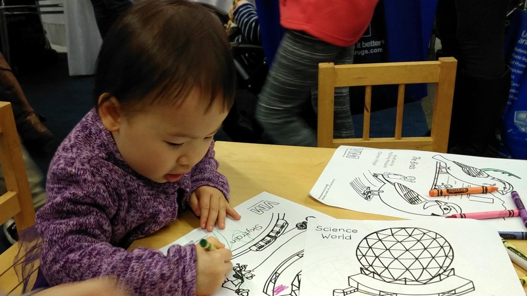 Science World coloring at Healthy Family Expo