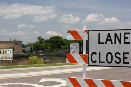 Lane closed as construction continues