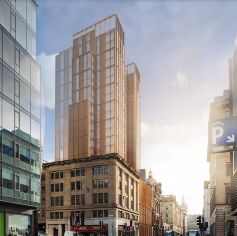 Waterloo Street Build to Rent development - external view, Glasgow city centre