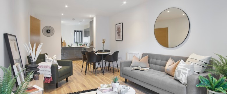 Open plan lounge/kitchen, BTR scheme, Ilford