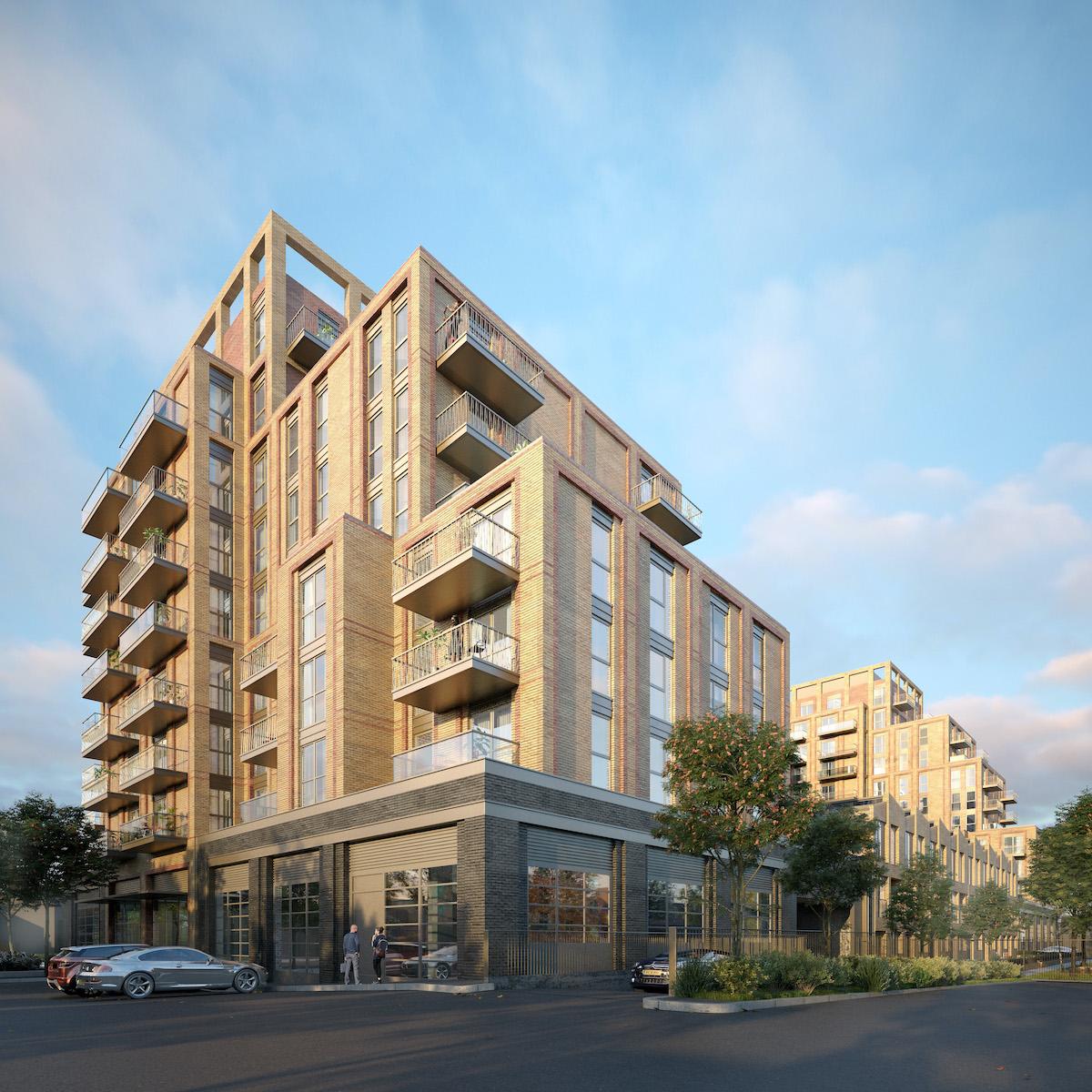 Elthorne Works development, Ealing - external view