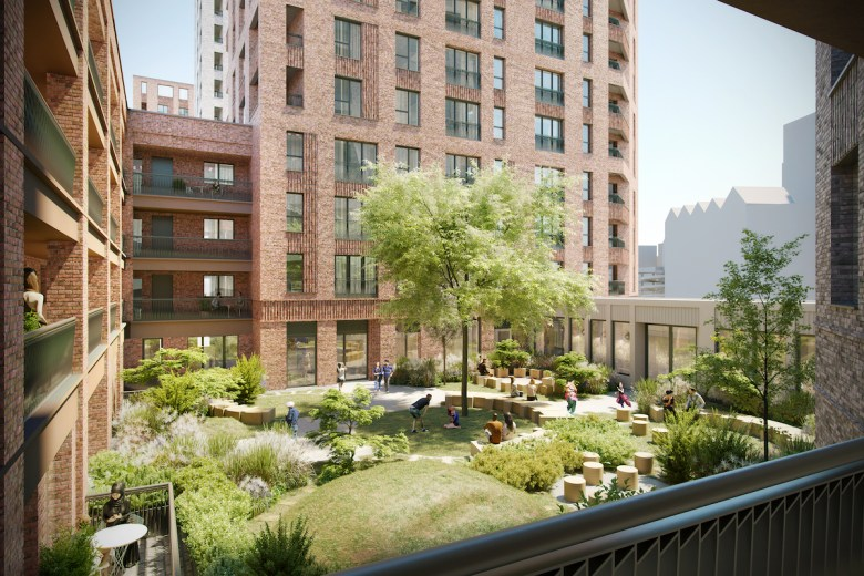 Assael Architecture's CGI of Connected Living London Southall development - courtyard view | BTR News