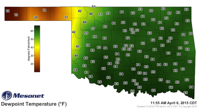 Monday 12pm Observed Dewpoints