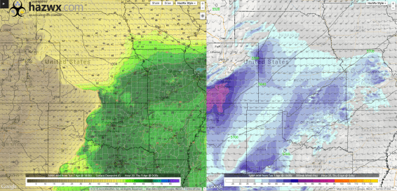 NAM4 - Dewpoints/500mb - Valid 7pm Wednesday
