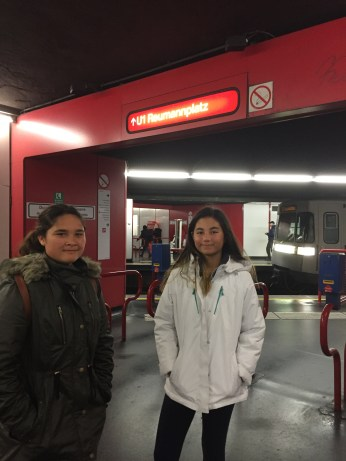 Mikaela and Kari in the subway station.