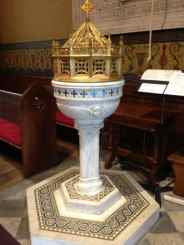 Christ Church's baptismal font. Photo by Kate Abbott