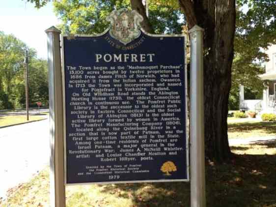 A historic marker at the Pomfret Town Hall includes the Whistlers among its local luminaries. Photo by Kate Abbott