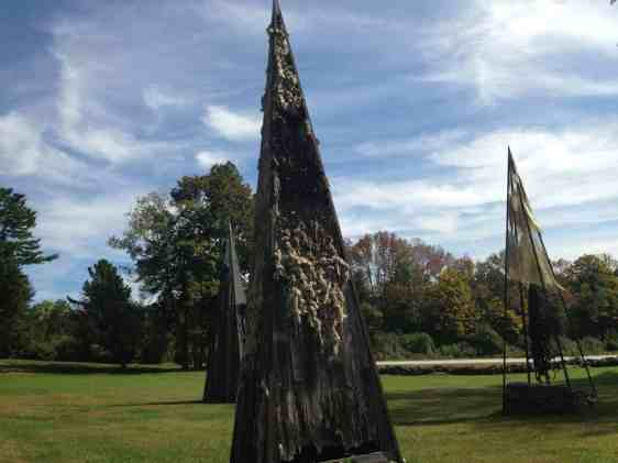 Nancy Winship Milliken's 'Landmarks' pay tribute to New England farms with constructions of old wood, wool, harness and steel. Photo by Kate Abbott