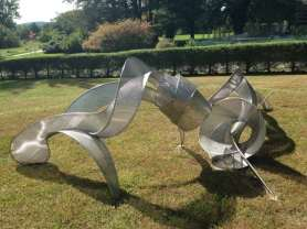Nancy Selvage's 'Pollinate' imagines the movement of pollen and insects in stainless steel. Photo by Kate Abbott