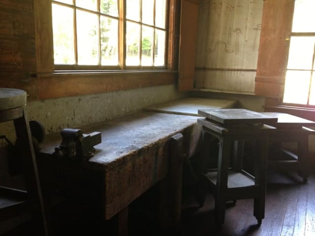 In this workmanlike room at the side of the studio, French and his daughter would have mixed plaster for molding, Bill Allen said. Photo by Kate Abbott