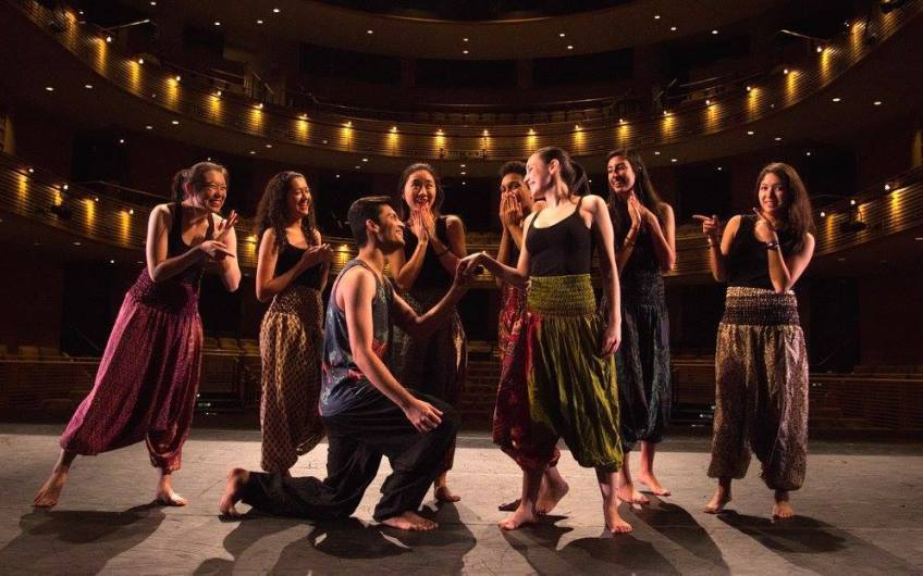 Dance Dhamaka rehearses a number in Aik Kahani, their spring 2017 performance. Photo by  Karin Stack, courtesy of Dance Dhamaka