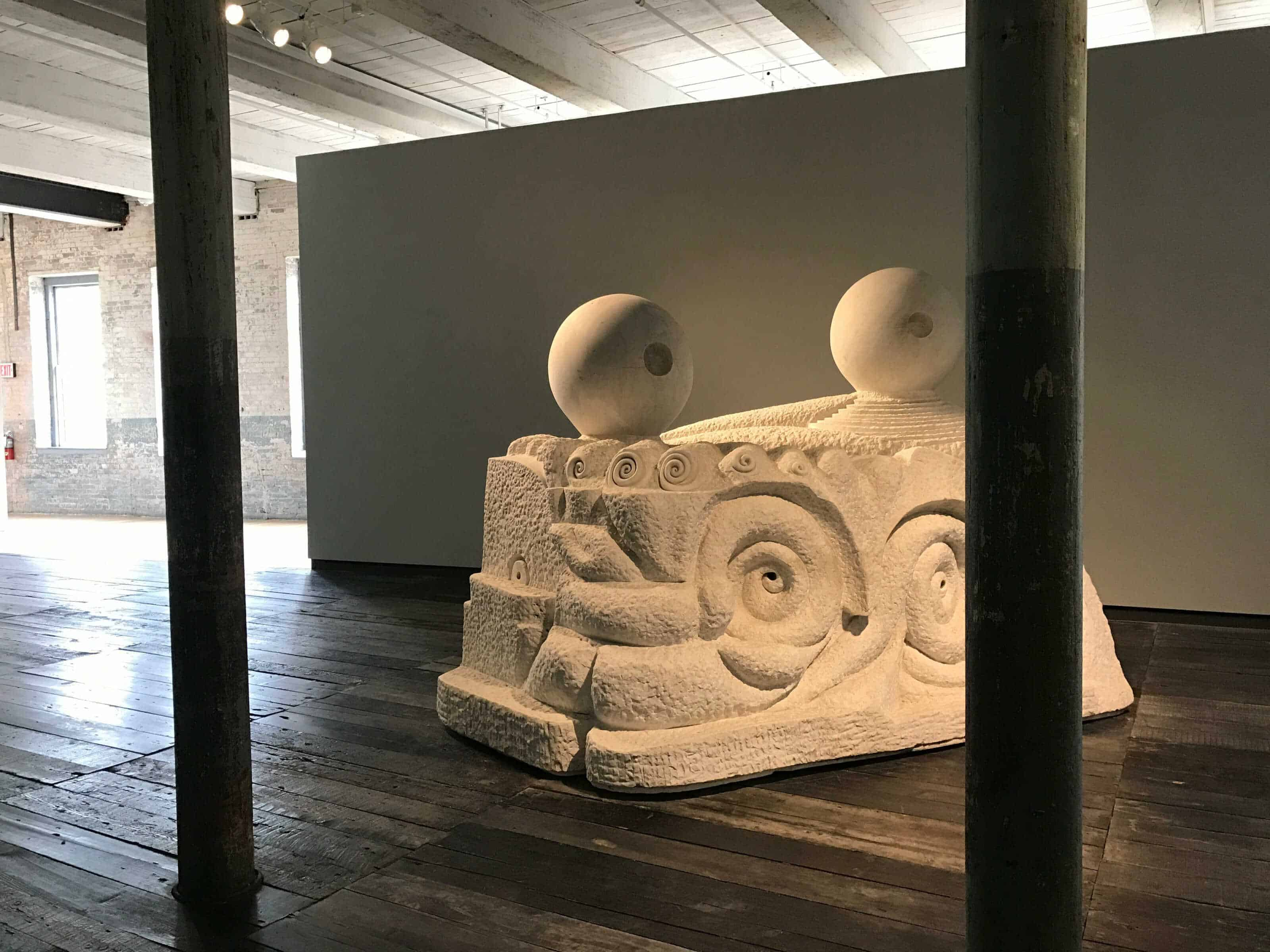 Louise Bourgeois' monumental sculpture fills an open gallery space in MoCA's new Building 6. Photo by Kate Abbott