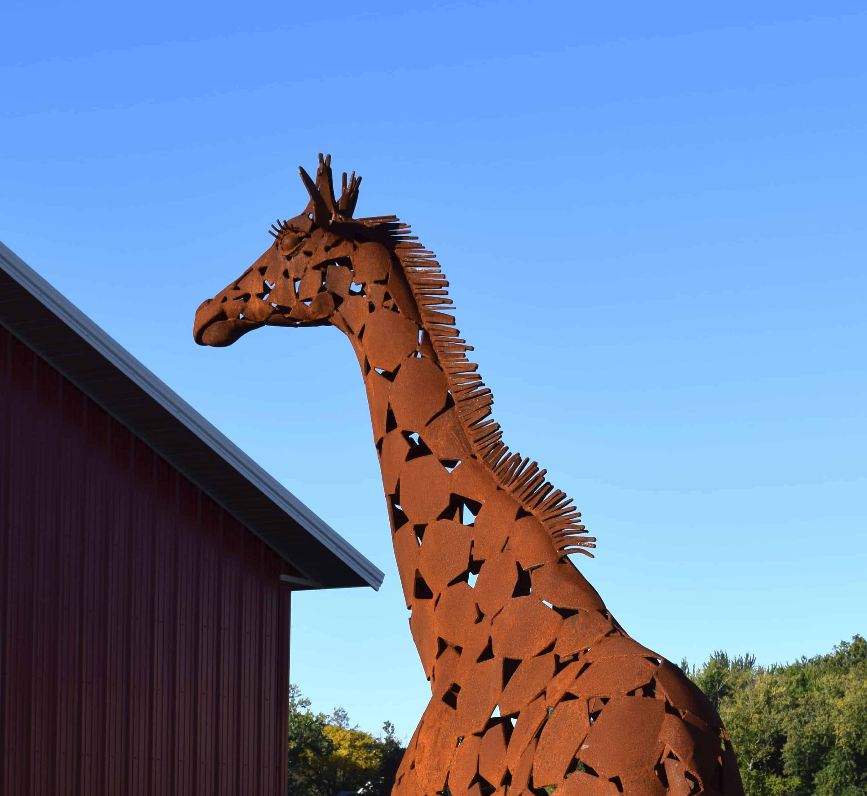 All manner of wild things, from bronze herons and glass-eyed dragonflies to towering giraffes, line new Sculpture Promenade — giant clay pots, stone fountains, outdoor seating, birdbaths. Photo courtesy of Paradise City Arts Festival in Northampton