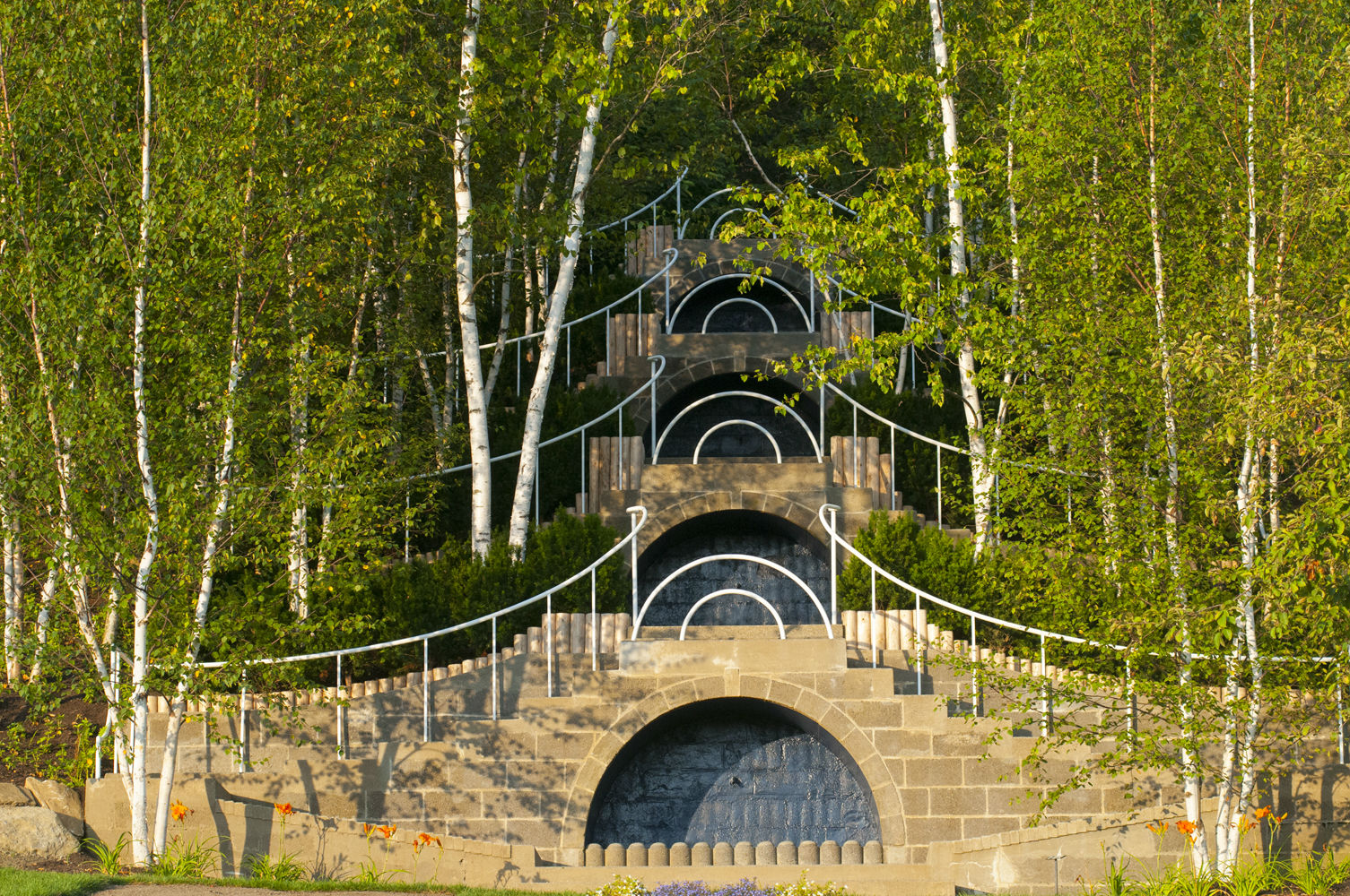 The Blue Stairs at Naumkeag rise into birch trees. Photo courtesy of the Trustees of Reservations