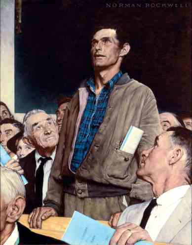 Norman Rockwell's Freedom of Speech contrasts with Andy Warhol's two-toned work. Photo courtesy of the Norman Rockwell Museum.