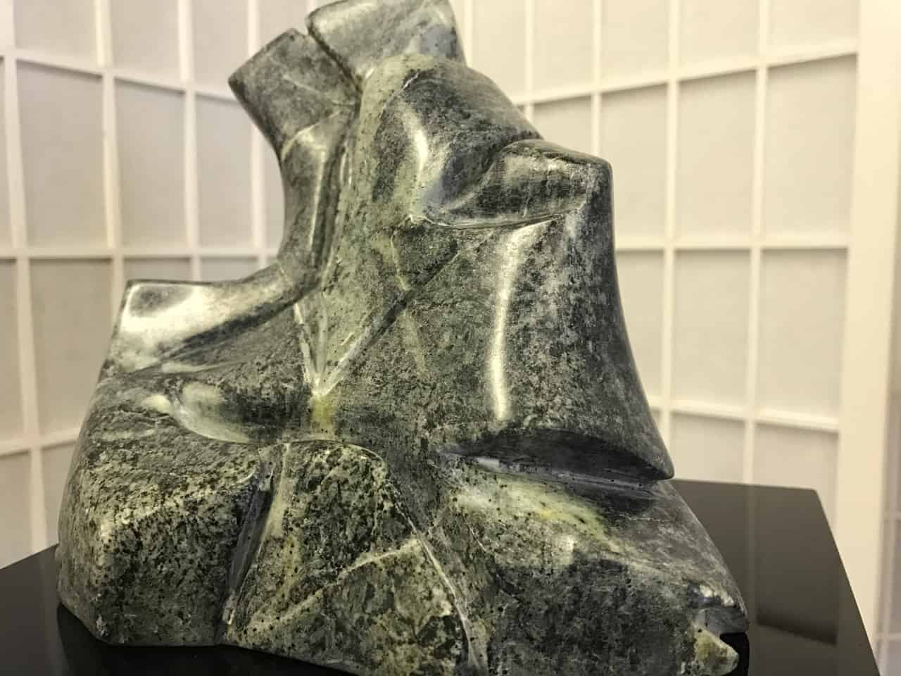 Joy Cameron's soapstone sculpture 'Paol and Francesca' recalls the loers in Dante's Inferno who read aloud to each other until their feelings overtook their words. Photo by Kate Abbott