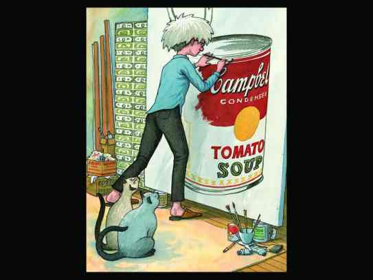 James Warhola's illustration shows his Uncle andy painting soup cans in an exhibit of the ilustrator's work at the Norman Rockwell Museum. Photo courtesy of NRM