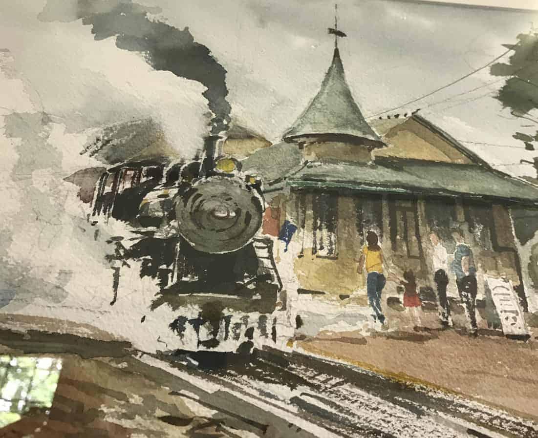 Adrian Holmes' watercolor 'No. 6 Train' appears at the Richmond-West Stockbridge Artist Guild exhibit at the 1854 Old Town Hall in West Stockbridge. Photo by Kate Abbott