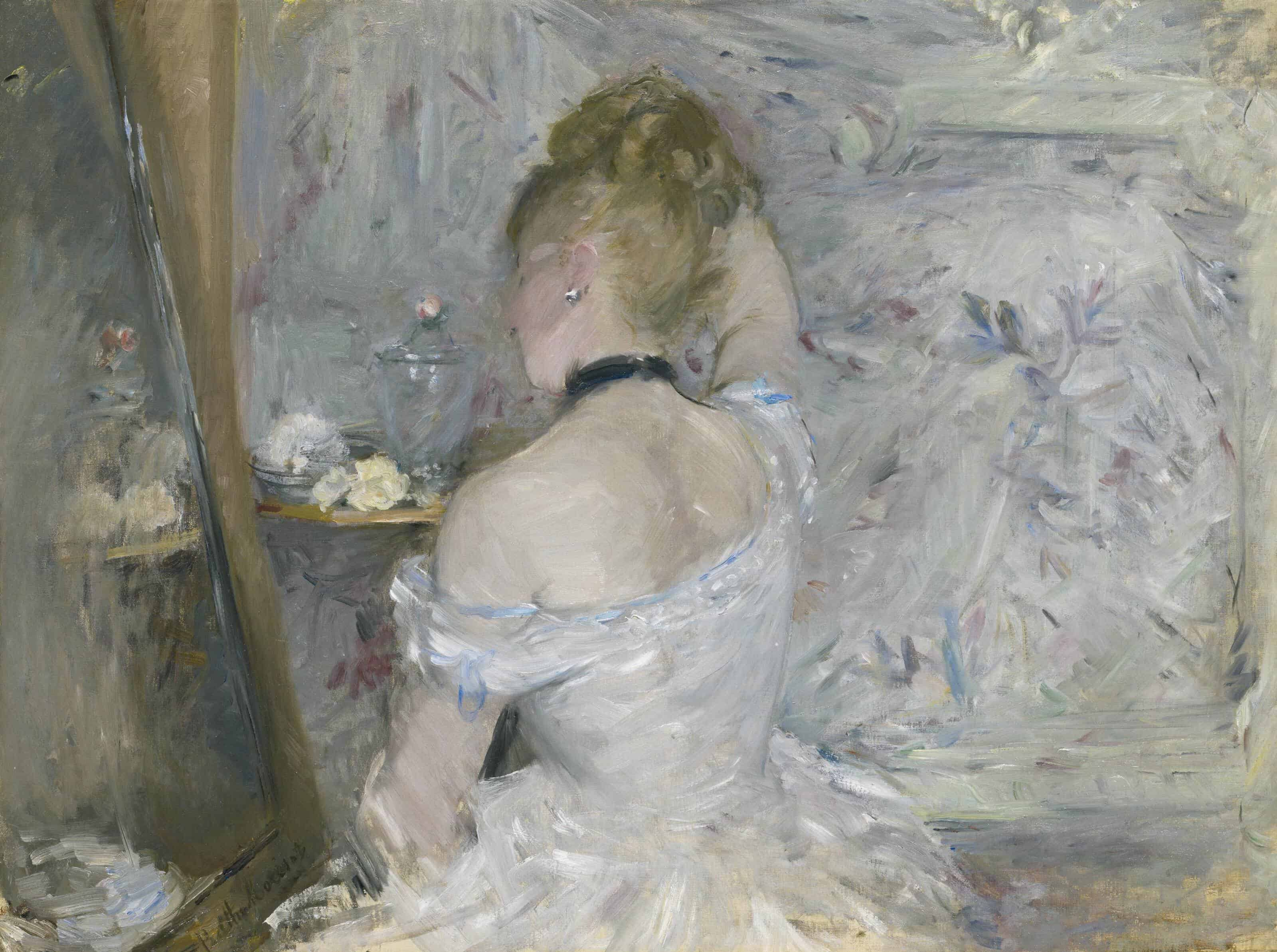 Berthe MorisotFrench, 1841-1895Woman at Her Toilette, 1875/80Oil on canvas23 3/4 x 31 5/8 in. (60.3 x 80.4 cm)Stickney Fund1924.127The Art Institute of Chicago