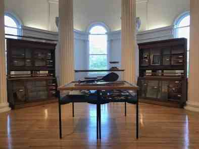 In the rotunda, a gathering of artifacts recalls and challenges the 'Cabinet of Curiosities' 19th-century style of museum in The Field Is the World at the Williams College Museum of Art. Photo by Kate Abbott, courtesy of WCMA