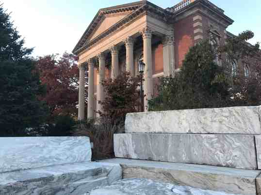 Marble rises near Chapin Hall at Williams College. Photo by Kate Abbott