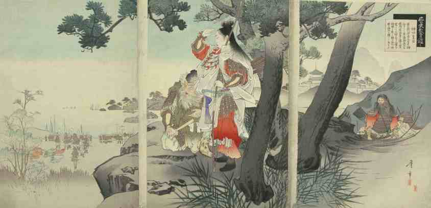 Toshiaki Nakazawa, (1864 – 1921), Empress Jingu Invading Korea, c. 1897: According to the Hyde Collection, several Japanese legends tell of the Empress Jingu, who ruled in 201 CE and was absent from Japan for three years while she conquered a promised land, which the country later traditionally identified as Korea. Courtesy of the Hyde Collection and the University of Syracuse