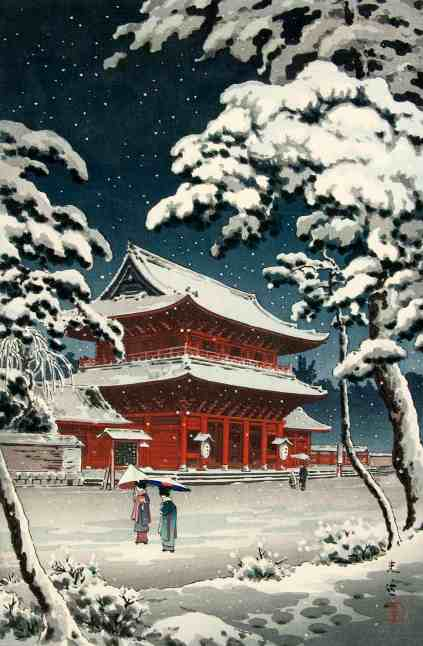 Tsuchiya Koitsu, Japanese 1870-1949, Snow at Zojoji, 1933. Image of Daiden (Hondo) main hall of temple Family temple of Togukawa in Edo. Courtesy of the Hyde Collection and the University of Syracuse