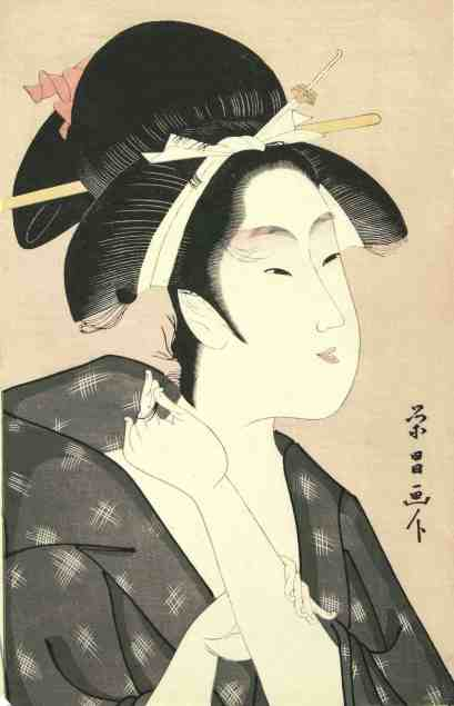 Hosoda Eishô (Chôkôsai), active 1793- 1799 Woman, c. 1800 Color woodcut on laid paper. Courtesy of the Hyde Collection and the University of Syracuse