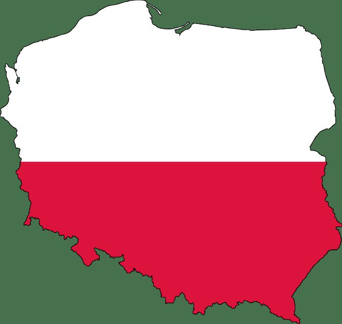 Poolse vlag in de vorm van Polen