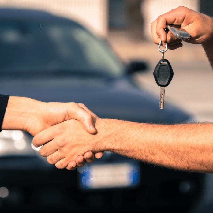 Autoverkoop Verkoop Tweedehands Auto Overdracht Hand Schudden
