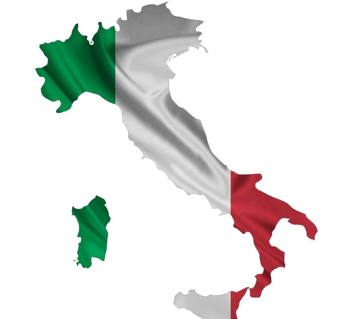 Italiaanse vlag in de vorm van Italie