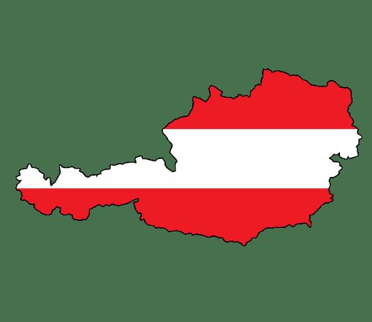 Oostenrijkse vlag in de vorm van het land Oostenrijk