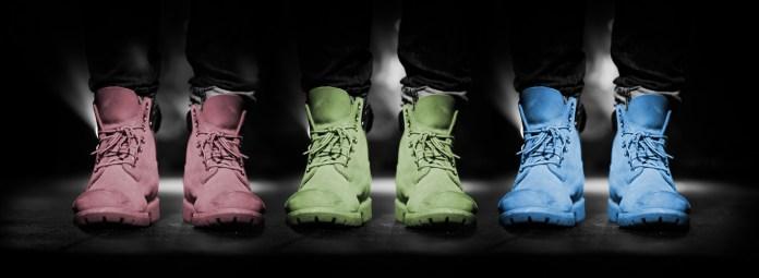 Schoenen Kleuren Roze Groen Blauw met Zwarte Achtergrond