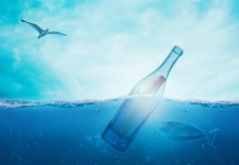 Zeewaterontzilting Zee Boodschap In Een Fles Schipbreuk Bericht Water