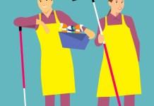 schoonmakers schoonmaken man en vrouw met dweil en schoonmaakspullen
