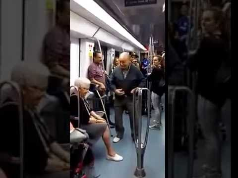 Adorable old people dancing to rap music at a Barcelona Subway ride