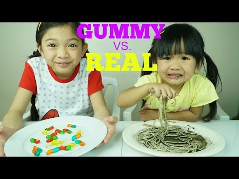Gummy Food vs. Real Food Gross Food Challenge