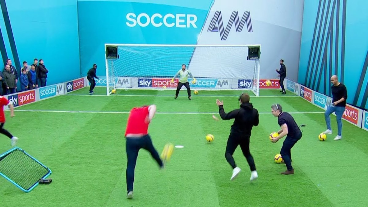 Tubes' funny reaction after Nottingham Forest fan nearly hits Top Bin in Volley Challenge! 😱