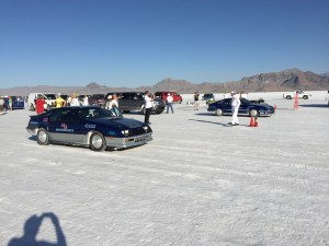 The 2 Dodge Cars on the start line