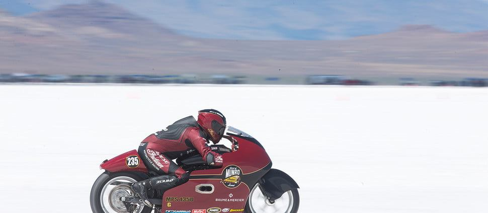 Lee Munro at Bonneville Salt Flats riding the Spirit of Munro modified Indian Scout. Indian Motorcycle