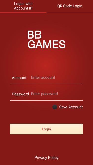 Tampilan Login Mobile Casino Online BB Games