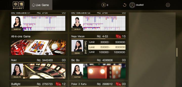 Tentukan Batas Taruhan Naga Macan SunBet Live Casino