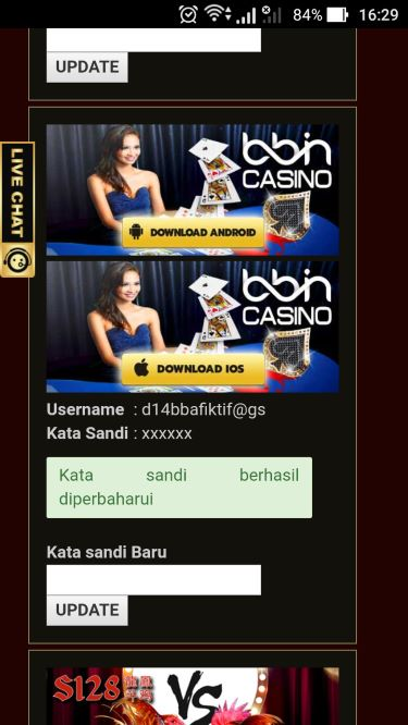 Update Password Mobile Casino Online Selesai