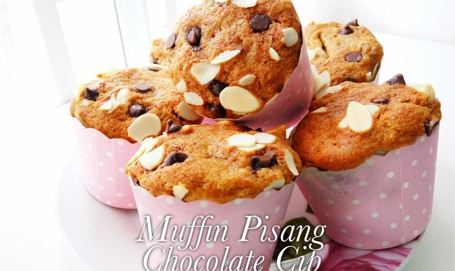 Muffin Pisang Chocolate Chip Mudah dan Sedap