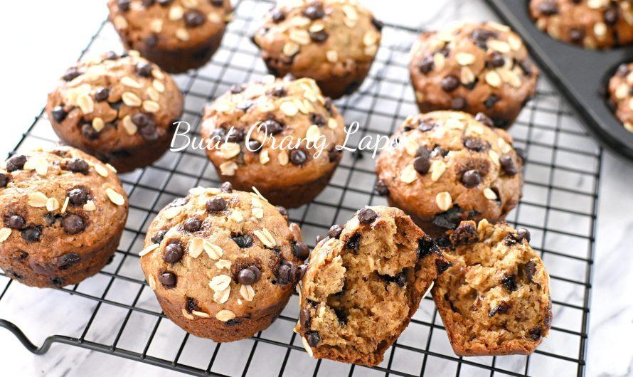 Muffin Pisang Oat Sangat Lembut Tanpa Mixer